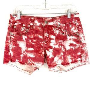 MISS ME Pink Tie-Dye Embellished Shorts